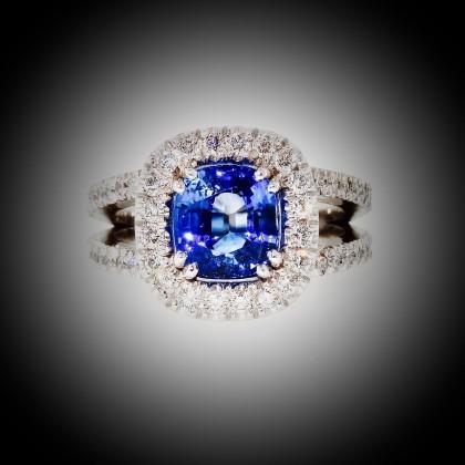 Fabuleux Bague or blanc, entourage, saphir et diamants, double anneau avec  XP16