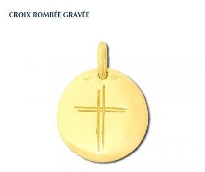 Croix bombée gravée, croix or jaune 18 carats, bijoutier, joaillier, Rey-Coquais, Lyon