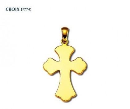 Croix tréflée, or jaune 18 carats, bijoutier, joaillier, Rey-Coquais, Lyon