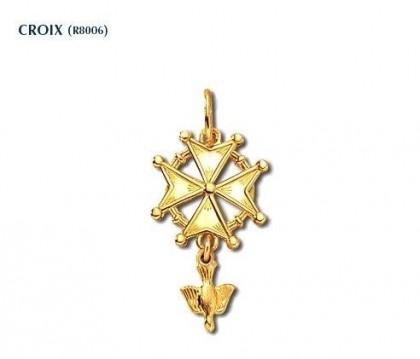Croix huguenote, or jaune 750/1000ème,  36x22mm,  bijoutier joaillier, Rey-Coquais Lyon