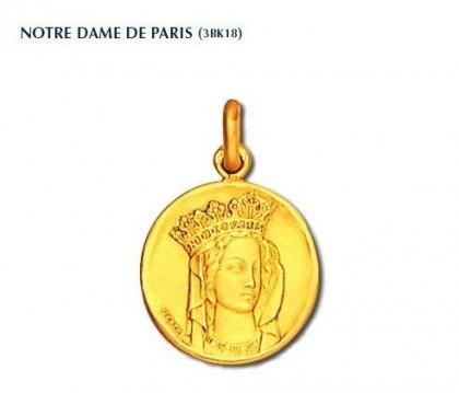 Notre Dame de Paris, Vierge couronnée, collection Becker, médaille de baptême, médaille religieuse, or 18 carats, bijoutier, joaillier, Rey-Coquais, Lyon