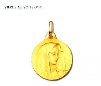 Vierge au voile, médaille religieuse, médaille de baptême en or jaune 18 carats, Rey-Coquais, Lyon