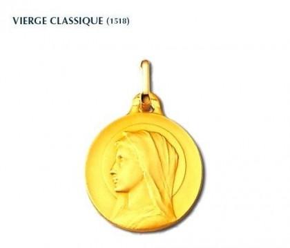 Vierge classique, vierge seule, médaille or jaune 18 carats, bijoutier, joaillier, Rey-Coquais, Lyon