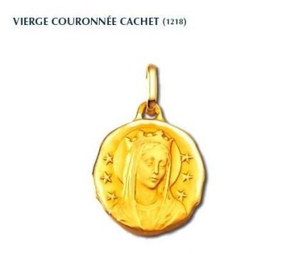 Vierge couronnée cachet, médaille or jaune 18 carats,médaille de baptême, bijoutier, joaillier, Rey-Coquais