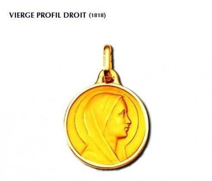 Vierge profil droit, Vierge seule, médaille or jaune 18 carats; bijoutier, joaillier, Rey-Coquais, Lyon