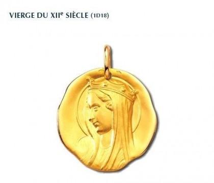 Vierge du XIIème siècle, médaille de baptême, médaille religieuse, or 18 carats, bijoutier, joaillier, Rey-Coquais, Lyon