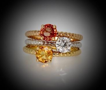 Trois bagues, or blanc, or rose, saphirs orangés, diamant, bijoutier, joaillier, Rey-Coquais, Lyon
