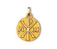 Monogramme sans bord, alpha et oméga, médaille de baptême, médaille symbolique, bijoutier, joaillier, Rey-Coquais, Lyon