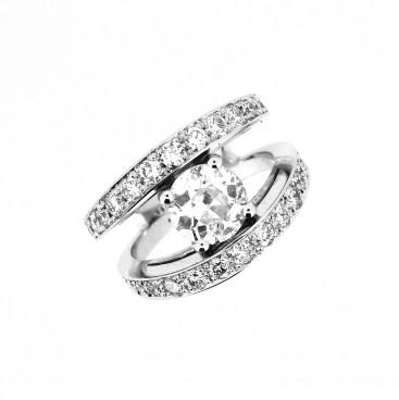 Bague or blanc, diamant et double anneau avec diamants, Rey-Coquais, bijoutier joaillier, Lyon