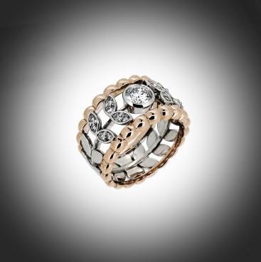 EUGENIE, bague or rose et blanc avec au centre un diamant, épaulé de chaque côté par un feuillage pavé de petits diamants, bijoutier, joaillier, Rey-Coquais, Lyon