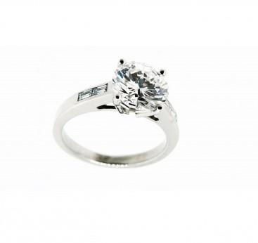 Bague solitaire, diamant et baguettes, bijoutier, joaillier, Rey-Coquais Lyon