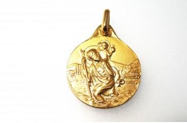 médaille saint christophe or jaune 18 carats
