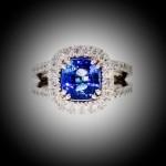 Bague or blanc, entourage saphir et diamant, double anneau avec diamants, bijoutier, joaillier, Rey-Coquais, Lyon