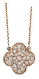 Collier or rose, pavage diamants en forme de trèfle
