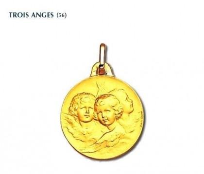 Trois Anges, médaille or jaune 18 carats, bijoutier, joaillier, Rey-Coquais Lyon