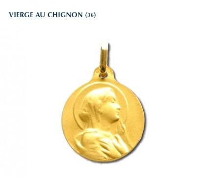 Vierge au chignon R.C., médaille or jaune 18 carats, bijoutier, joaillier, Rey-Coquais, Lyon