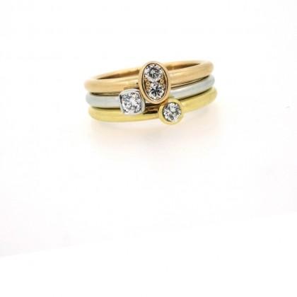 3 bagues, 3 ors, 3 diamants sertis clos, bijoutier, joaillier, Rey-Coquais, Lyon