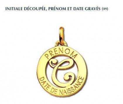 Pendentif, initiale découpée, gravure prénom et date, or jaune 18 carats, Rey-Coquais, bijoutier, joaillier, Lyon