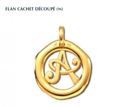 Flan cachet découpé, or jaune 18 carats, Rey-Coquais, bijoutier, joaillier, Lyon