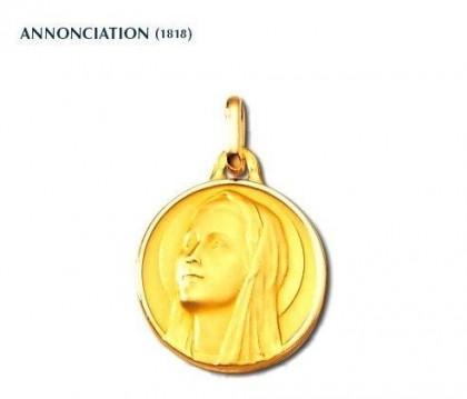 Annonciation, médaille religieuse, or jaune 18 carats, bijoutier, joaillier,  Rey-Coquais, Lyon
