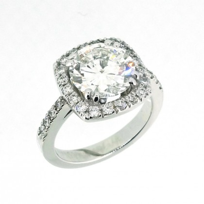 Bague or blanc, entourage, diamant de 2.8 carats, bijoutier joaillier, Rey-Coquais, Lyon