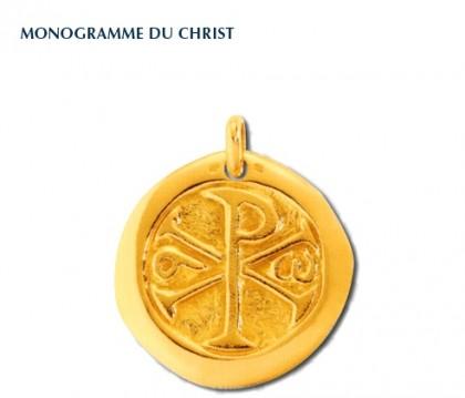 Chrisme, médaille de baptême, médaille religieuse, médaille or jaune 9 carats, bijoutier, joaillier, Rey-Coquais