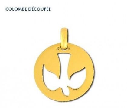 Colombe découpée, médaille religieuse, médaille symbolique, or 18 carats, bijoutier, joaillier, Rey-Coquais