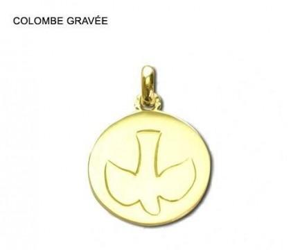 Colombe gravée, médaille symbolique, médaille de baptême, or 18 carats, bijoutier, joaillier, Rey-Coquais, Lyon