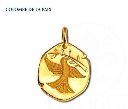 Colombe de la Paix, médaille religieuse, médaille symbolique, or 18 carats, bijoutier, joailier, Rey-Coquais