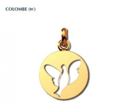 Colombe R.C., médaille symbolique, médaille de baptême, or jaune 18 carats, bijoutier, joaillier, Rey-Coquais, Lyon