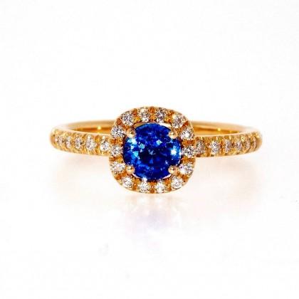 CONSTELLATION bague or rose, saphir et diamants