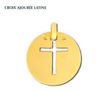 Croix ajourée latine, or 18 carats, bijoutier, joaillier, Rey-Coquais, Lyon