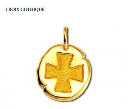 Croix gothique or jaune 18 carats, bijoutier, joaillier, Rey-Coquais, Lyon