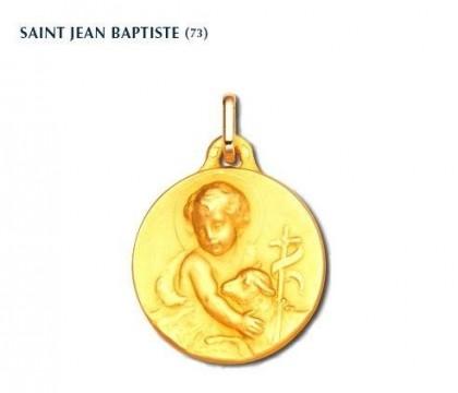 Médaille Saint Jean Baptiste, or jaune 18 carats, bijoutier, joaillier, Rey-Coquais, Lyon