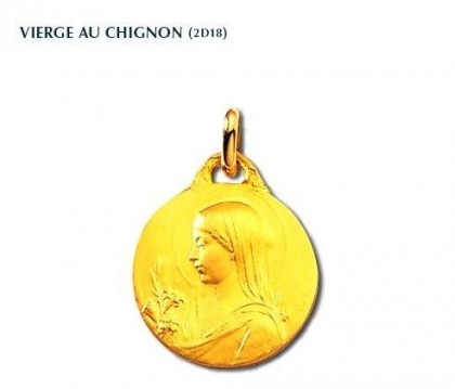 Vierge au chignon, médaille de baptême, médaille or jaune 18 carats, Rey-Coquais