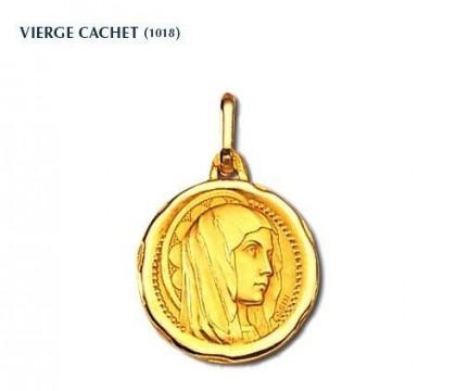 Vierge cachet, médaille de baptême, médaille religieuse, or 18 carats, bijoutier, joaillier, Rey-Coquais, Lyon