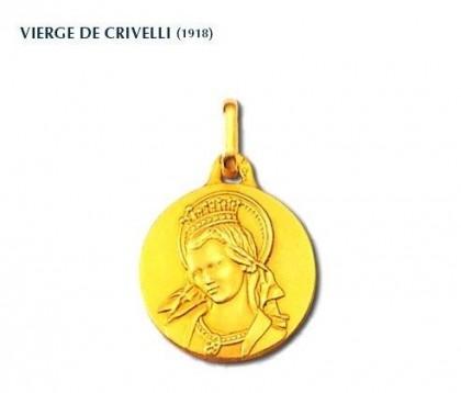 Vierge de Crivelli, médaille religieuse, médaille de baptême, médaille or jaune 18 carats, bijoutier, joaillier, Rey-Coquais, Lyon
