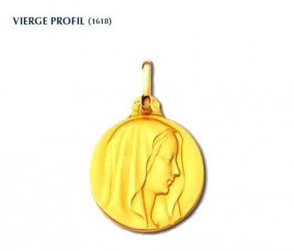 Vierge profil, médaille de baptême, médaille or jaune 18 carats, bijoutier, joaillier, Rey-Coquais, Lyon