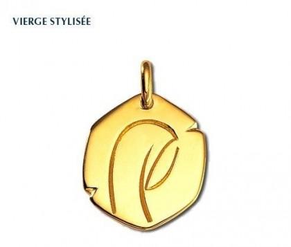 Rey-Coquais, Vierge stylisée, médaille de baptême, médaille religieuse, or 18 carats