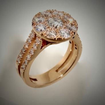 Bague entourage or rose, tout diamant, double anneau empierré de diamants, bijoutier, joaillier, Rey-Coquais, Lyon