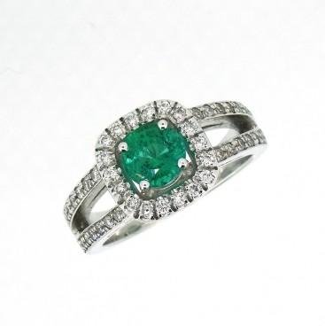 Bague entourage, émeraude et diamants, Rey-Coquais, bijoutier, joaillier à Lyon